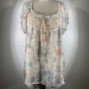 Johnny Was 4LNL peasant silk blouse size M NWT